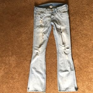 Silver jean brand distressed flare
